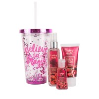 Kit Plus Vaso con Brillo Cranberry Vainilla 3 pz